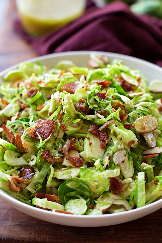 Almond Bacon Brussels Sprouts Salad | lifemadesimplebakes.com