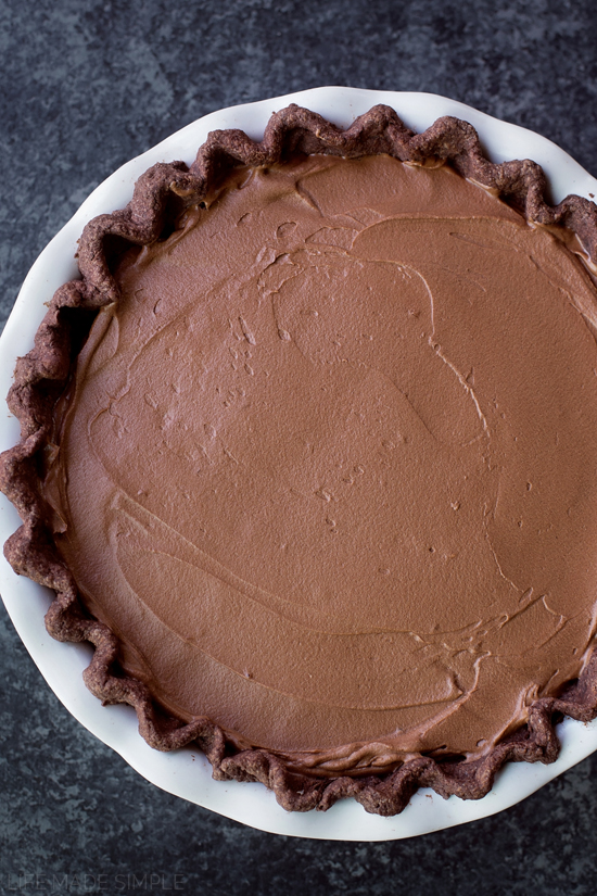 Double Chocolate French Silk Pie | lifemadesimplebakes.com