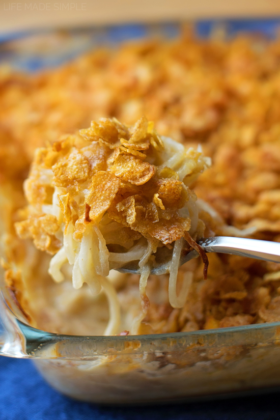Cheesy Spiralized Potato Casserole (aka Funeral Potatoes) | lifemadesimplebakes.com