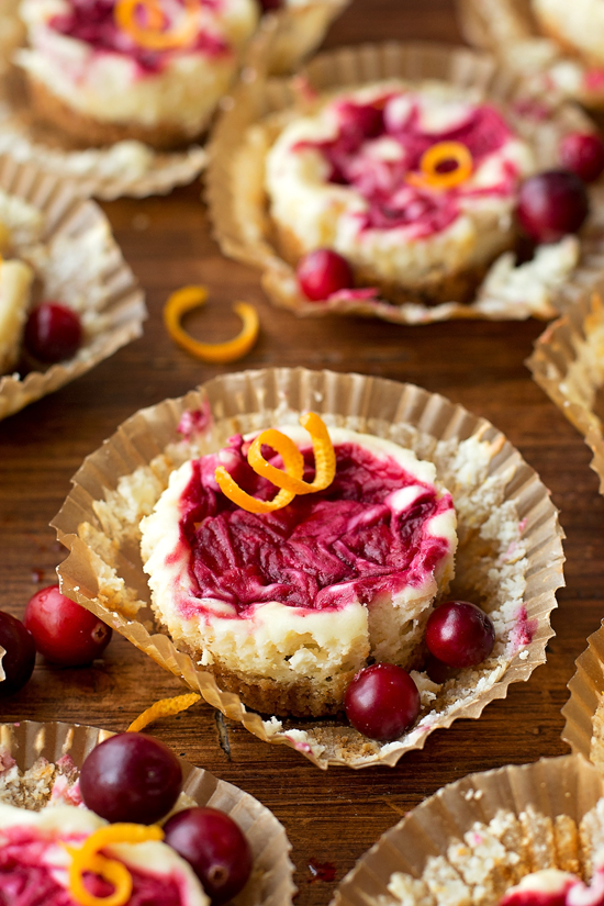 Cranberry Orange Mini Cheesecakes | lifemadesimplebakes.com