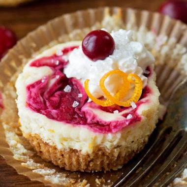 Cranberry Orange Mini Cheesecakes | lifemadesimplebakes.com