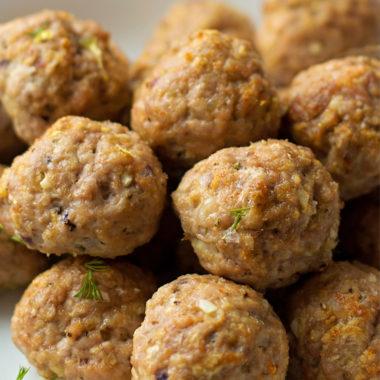 Greek Meatballs with Homemade Tzatziki | lifemadesimplebakes.com