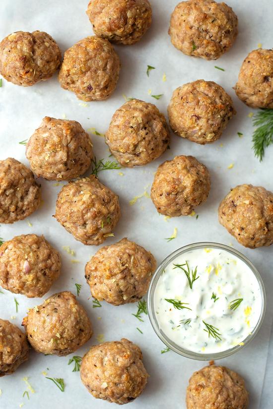 Greek Meatballs with Homemade Tzatziki   lifemadesimplebakes.com