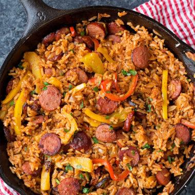 Sausage and Pepper Rice Skillet   lifemadesimplebakes.com