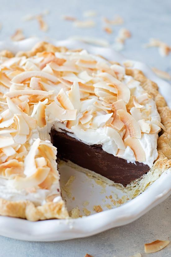 Chocolate Coconut Cream Pie | lifemadesimplebakes.com