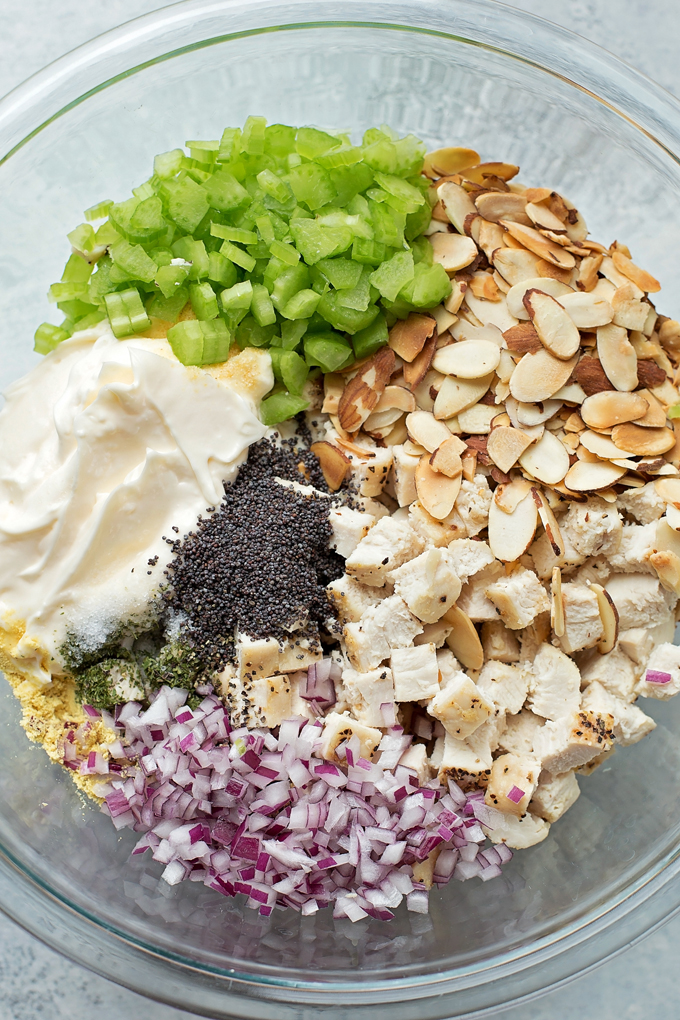 So many delicious ingredients in this Almond Poppy Seed Chicken Salad!