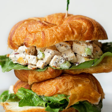 Almond Poppy Seed Chicken Salad piled high on croissants