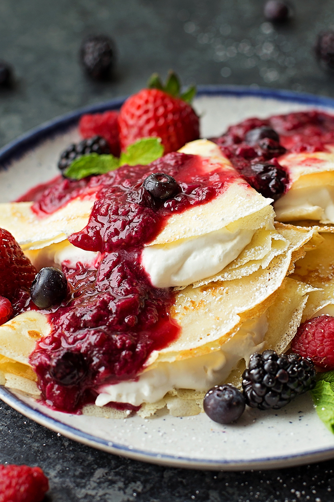 Berries & Cream Blender Crepes with freshly whipped cream.