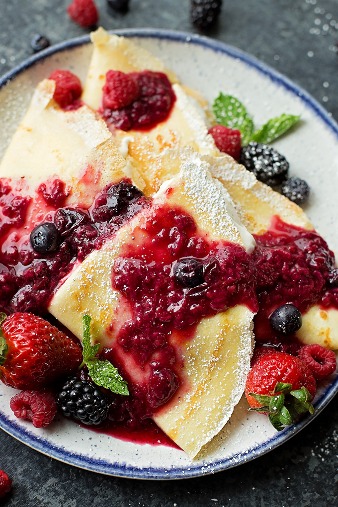 Berries & Cream Blender Crepes perfect for Mother's Day