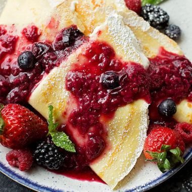 Homemade Berries & Cream Blender Crepes.