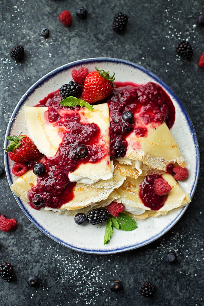 Berries & Cream Blender Crepes.
