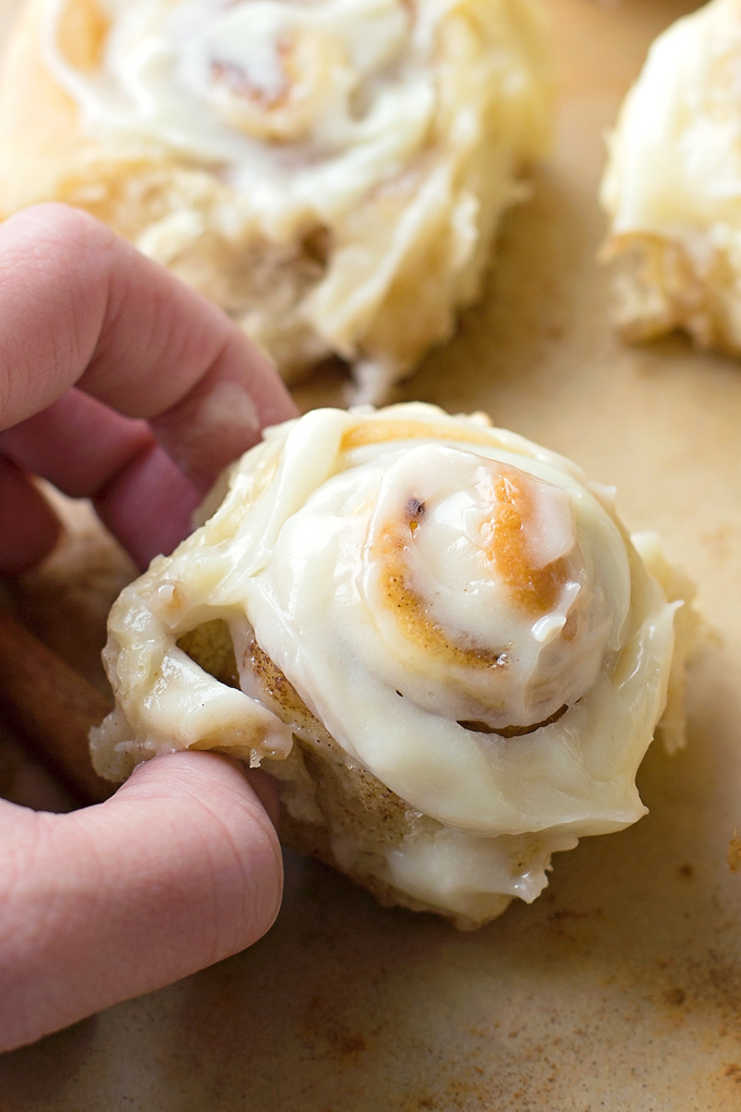 Mini Cinnamon Rolls with Cream Cheese Frosting are perfect little finger foods!