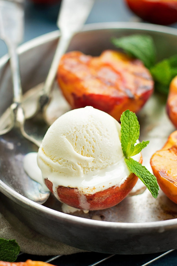 Grilled Peaches with Vanilla Ice Cream | lifemadesimplebakes.com