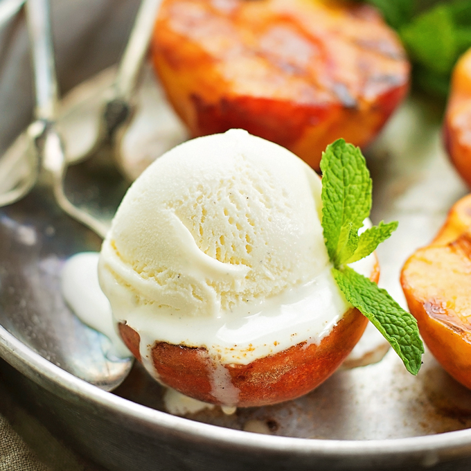 Grilled Peaches with Vanilla Ice Cream - Life Made Simple