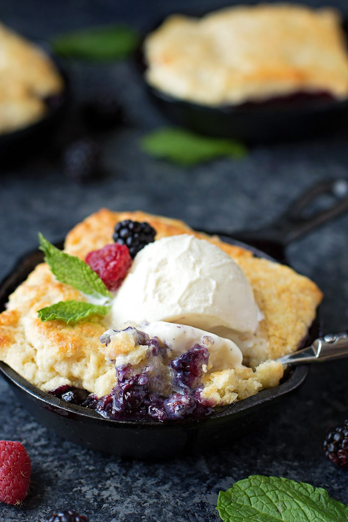 Mini Berry Cobbler Skillets | lifemadesimplebakes.com