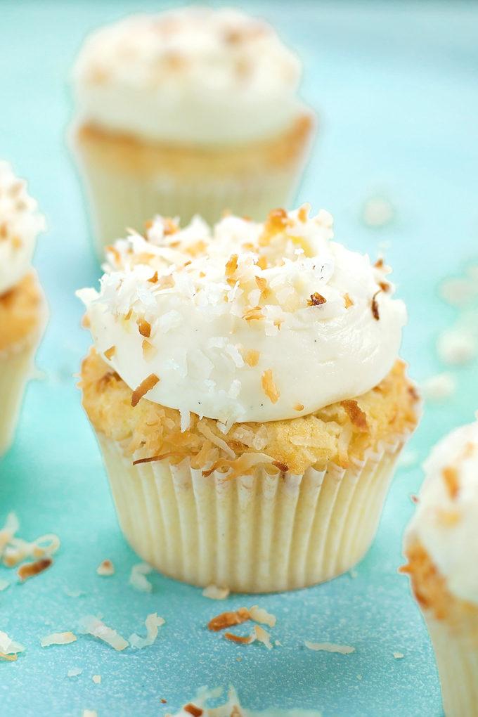 Tropical Pina Colada Cupcakes | lifemadesimplebakes.com