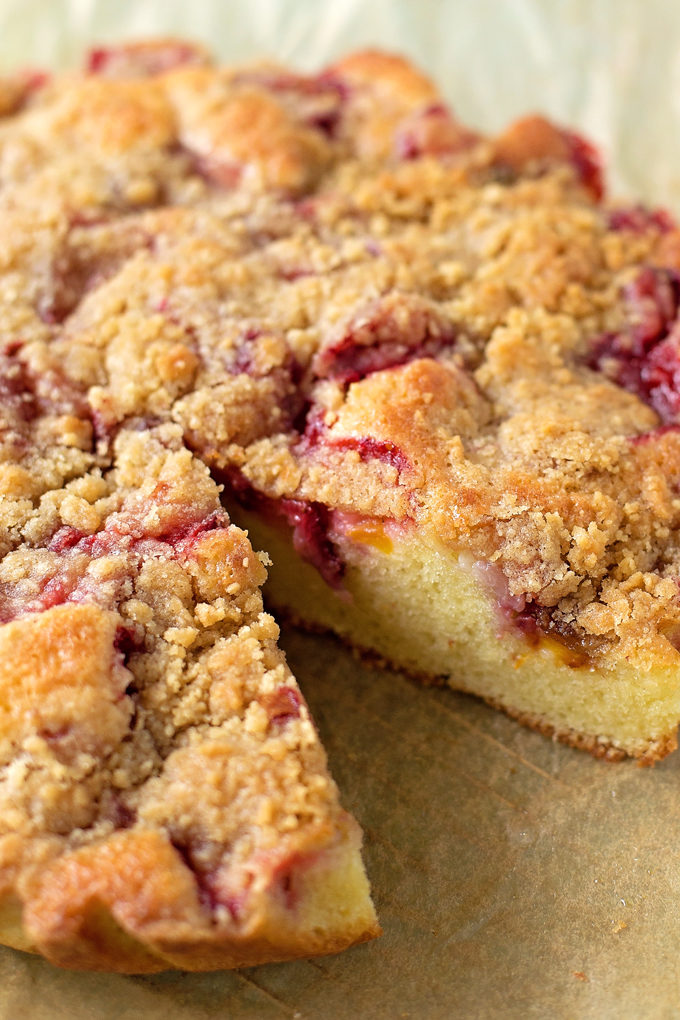 Strawberry Peach Skillet Cake | lifemadesimplebakes.com