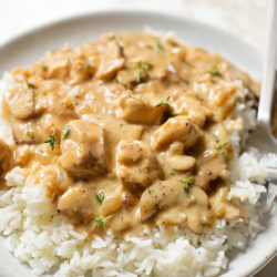 Chicken Stroganoff Over Rice | lifemadesimplebakes.com
