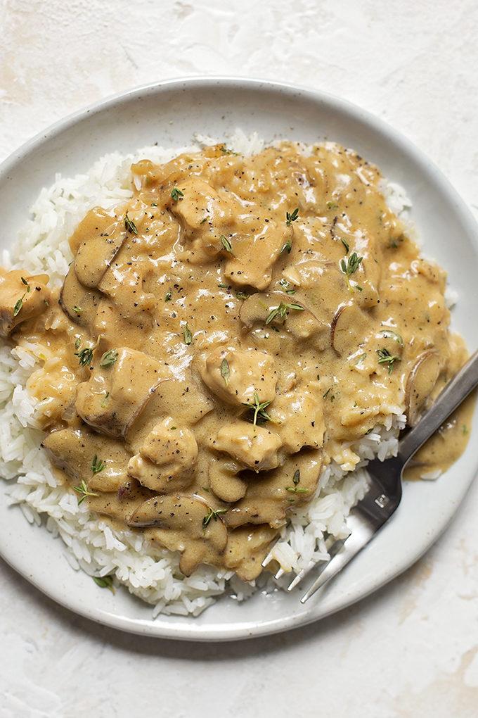 Chicken Stroganoff Over Rice | lifemadesimplebakes.com