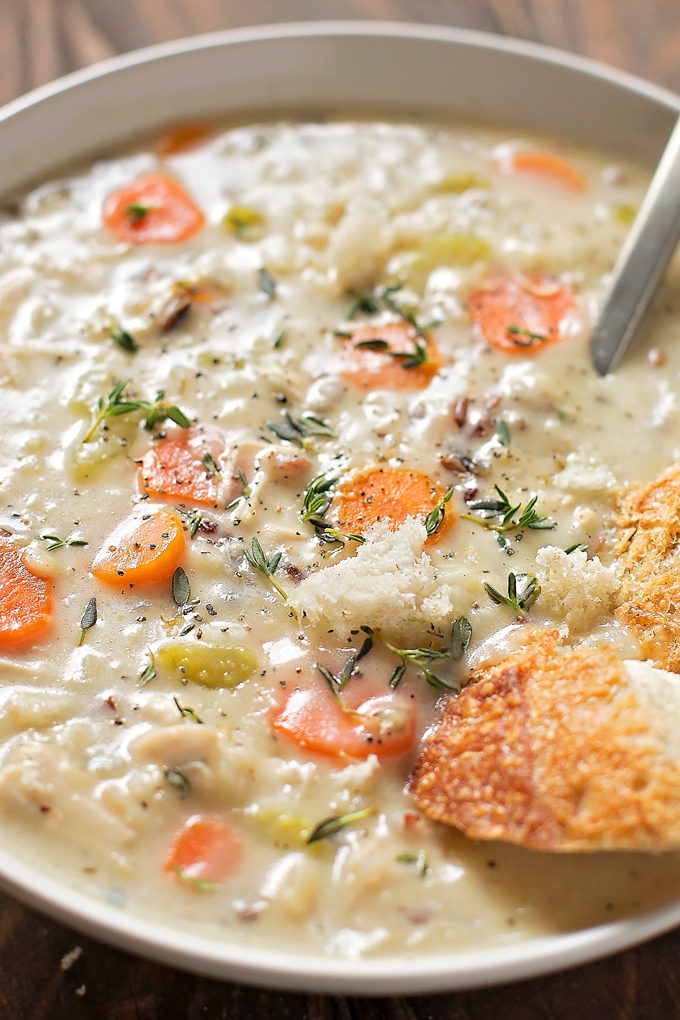Cozy Chicken and Wild Rice Soup | lifemadesimplebakes.com