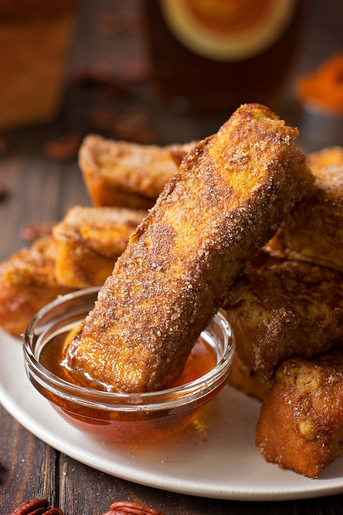 Pumpkin French Toast Sticks | lifemadesimplebakes.com