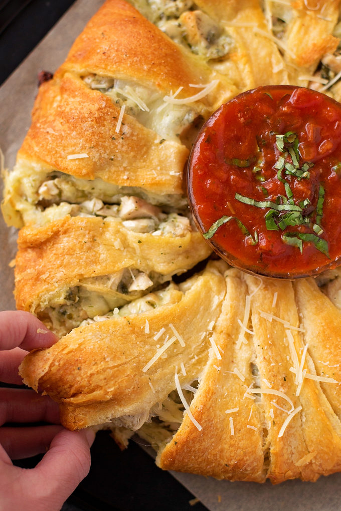 Cheesy Pesto Chicken Crescent Ring | lifemadesimplebakes.com