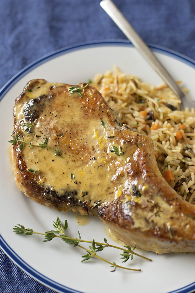 Creamy Lemon Thyme Pork Chops | lifemadesimplebakes.com
