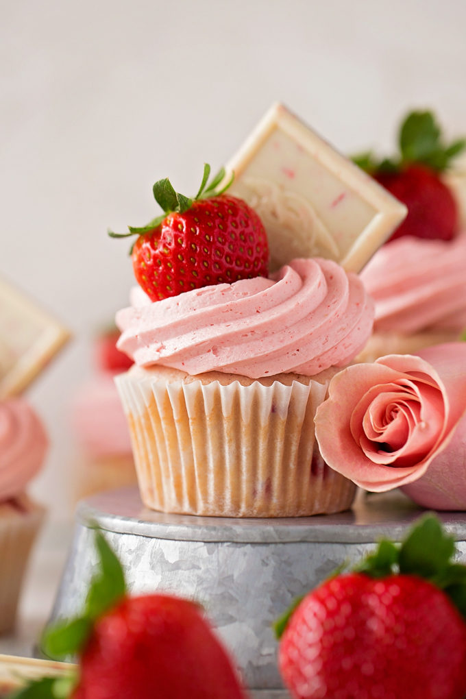 Strawberry Cupcakes with Strawberry White Chocolate Buttercream | lifemadesimplebakes.com