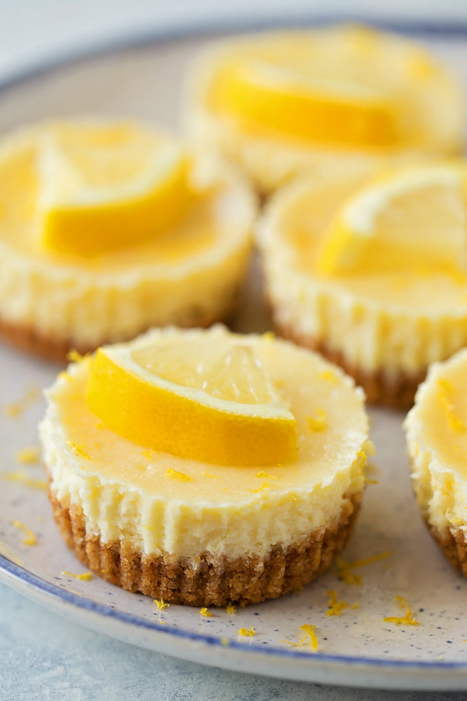 Mini Lemon Cheesecakes | lifemadesimplebakes.com