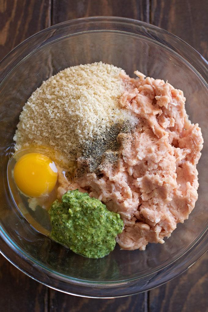 Pesto Chicken Meatballs | lifemadesimplebakes.com