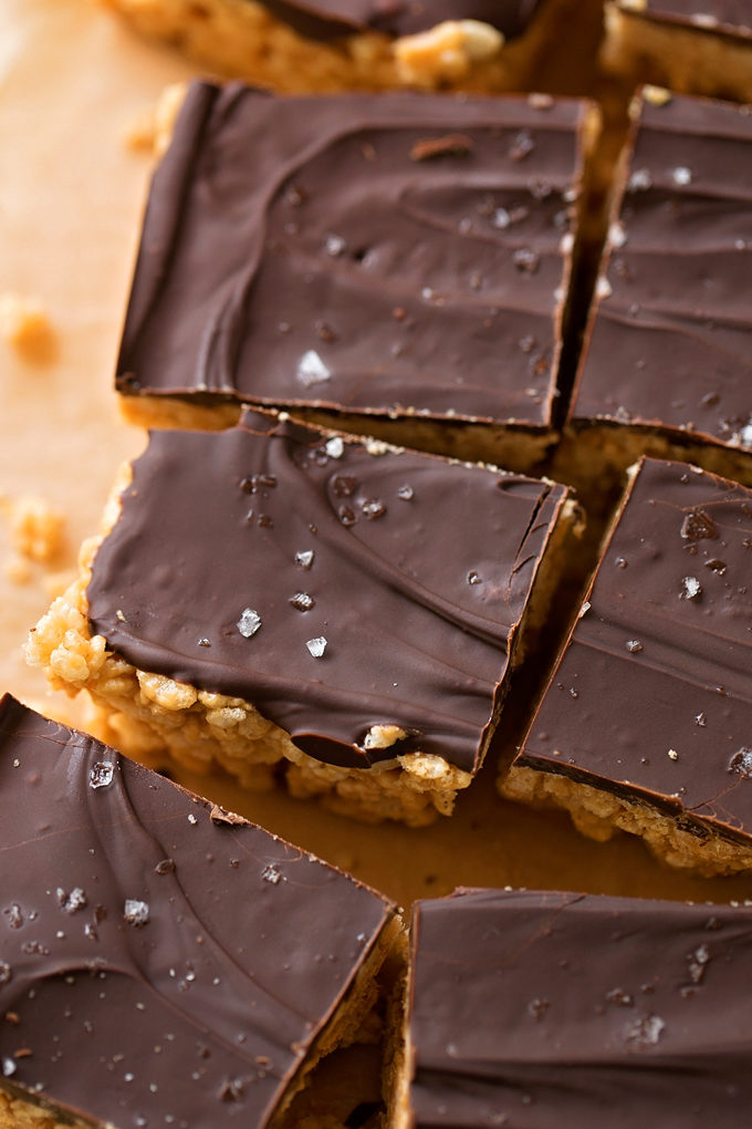 7 Ingredient Peanut Butter Rice Krispie Treats | lifemadesimplebakes.com