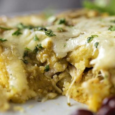 Chile Verde Chicken Tamale Casserole | lifemadesimplebakes.com