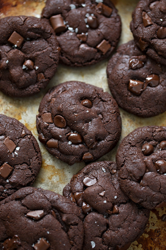 Double Chocolate Coconut Oil Cookies on a baking sheet