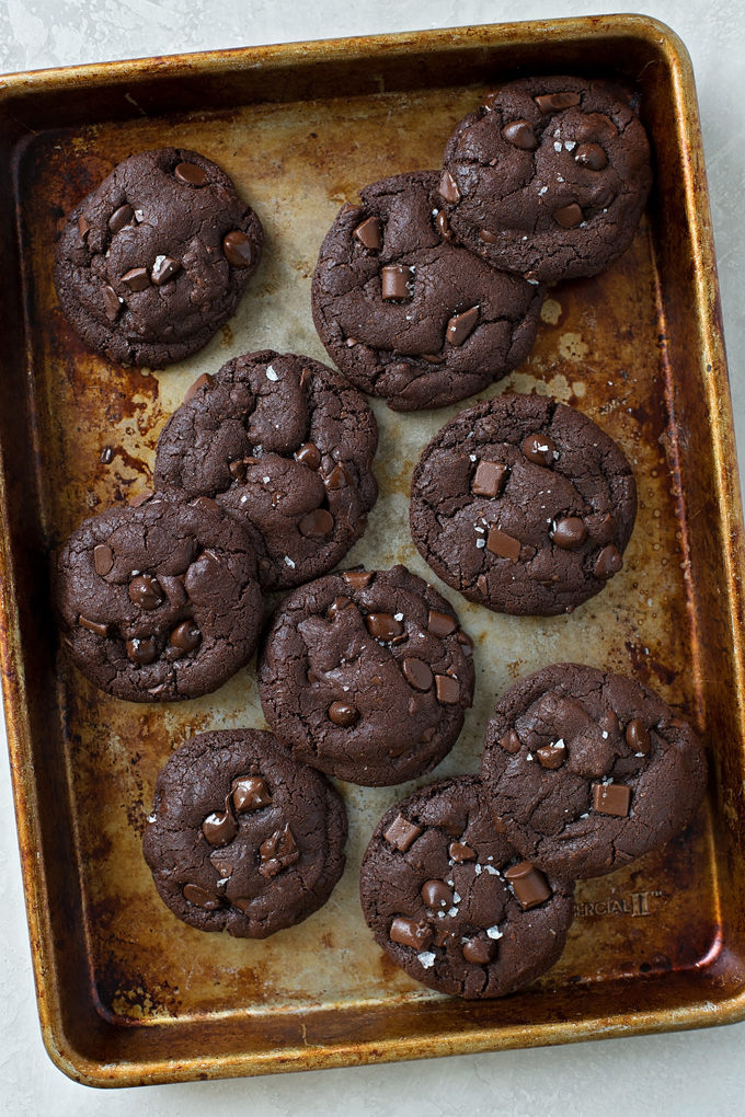 Baked Double Chocolate Coconut Oil Cookies on quarter sheet pan | lifemadesimplebakes.com