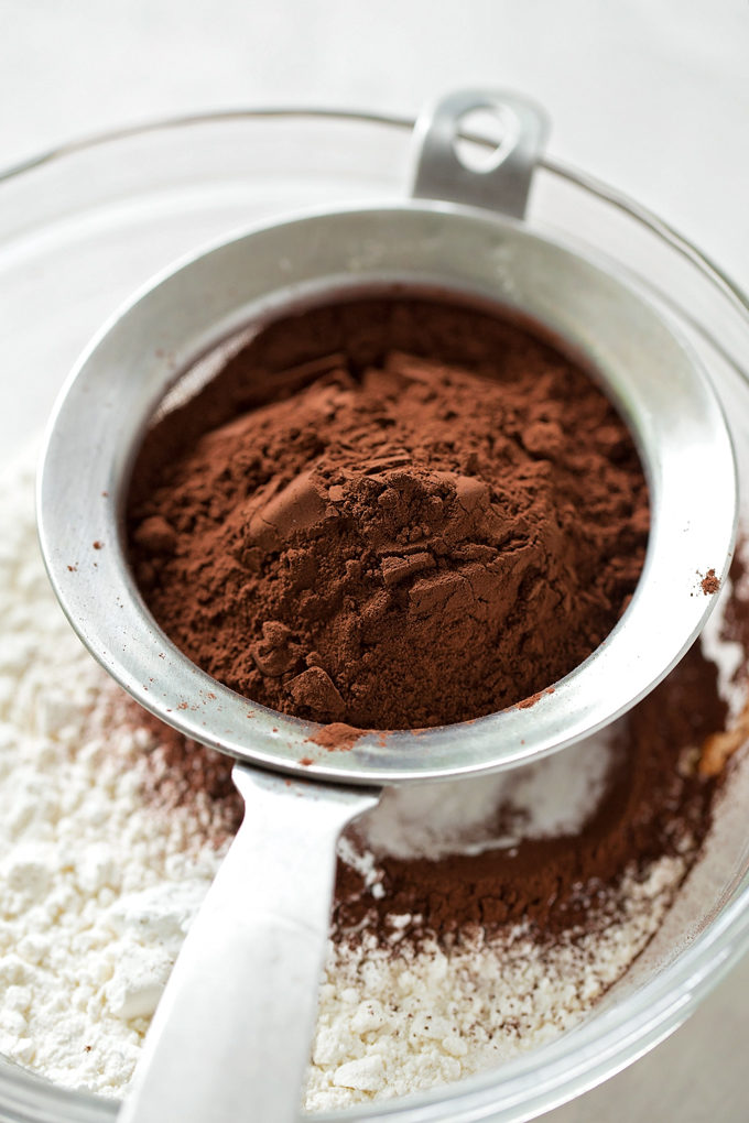 Dutch process cocoa powder as an ingredient in double chocolate coconut oil cookies.