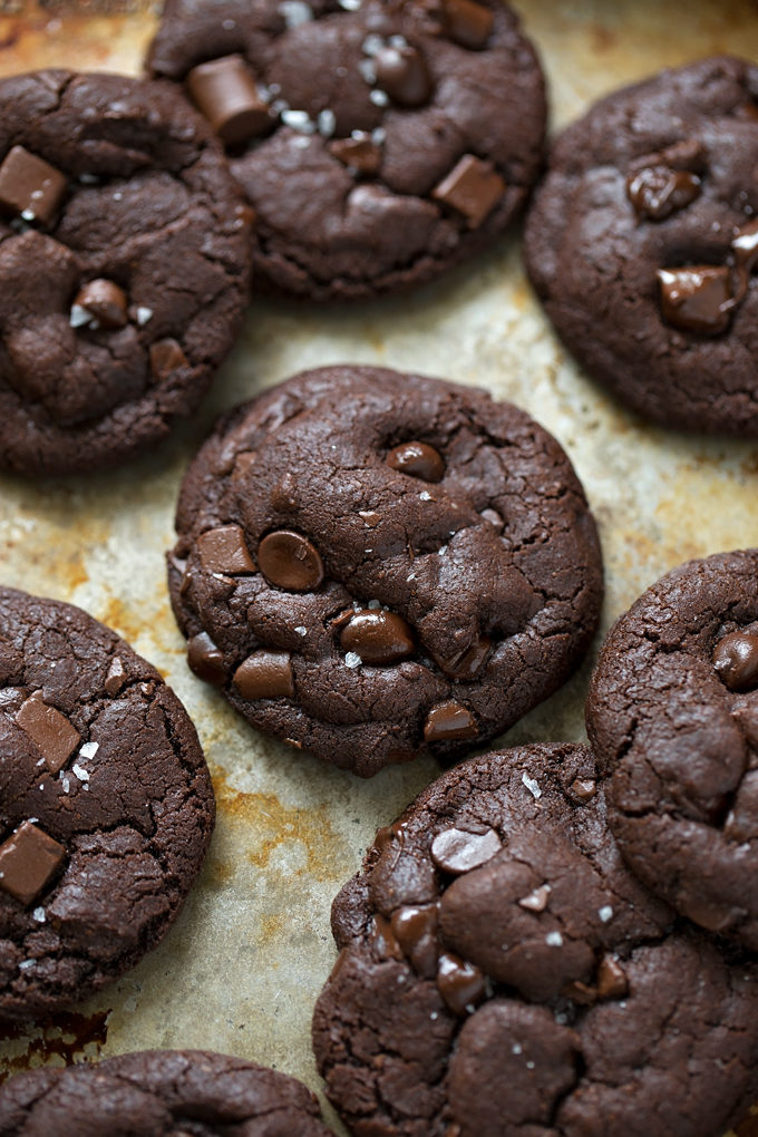 Thick, chewy double chocolate coconut oil cookies fresh from the oven.