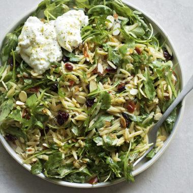 Orzo Arugula Salad with Lemon Basil Vinaigrette   lifemadesimplebakes.com