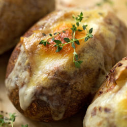 Baked french onion soup stuffed potatoes. | lifemadesimplebakes.com