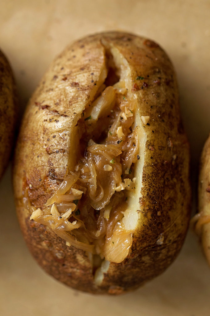 French onion soup in a freshly baked potato. | lifemadesimplebakes.com