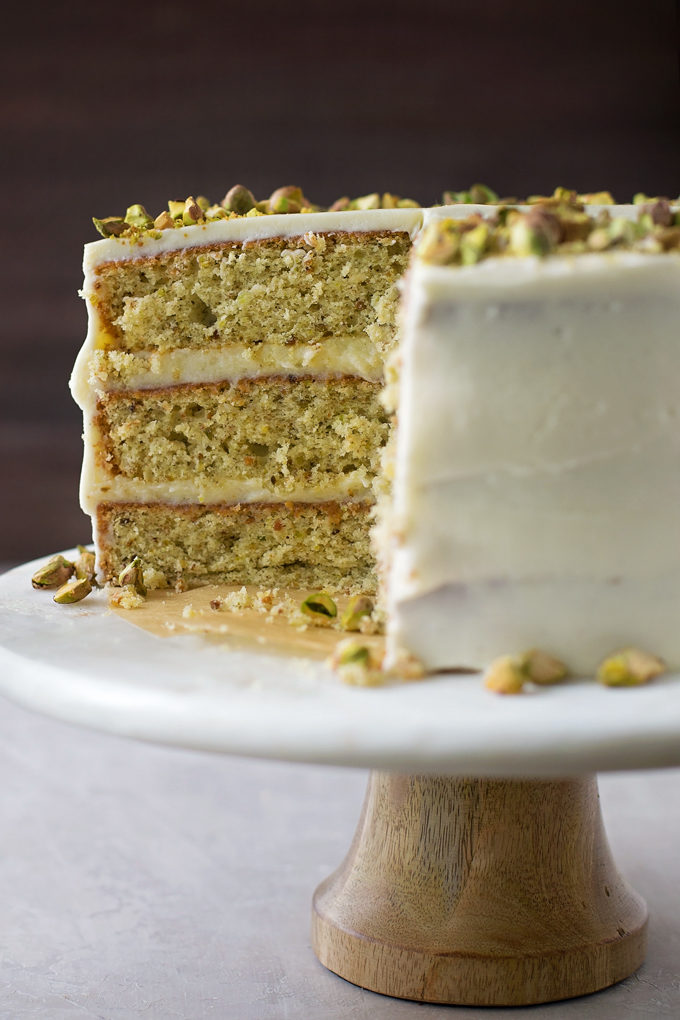The layers inside the pistachio layer cake. | lifemadesimplebakes.com