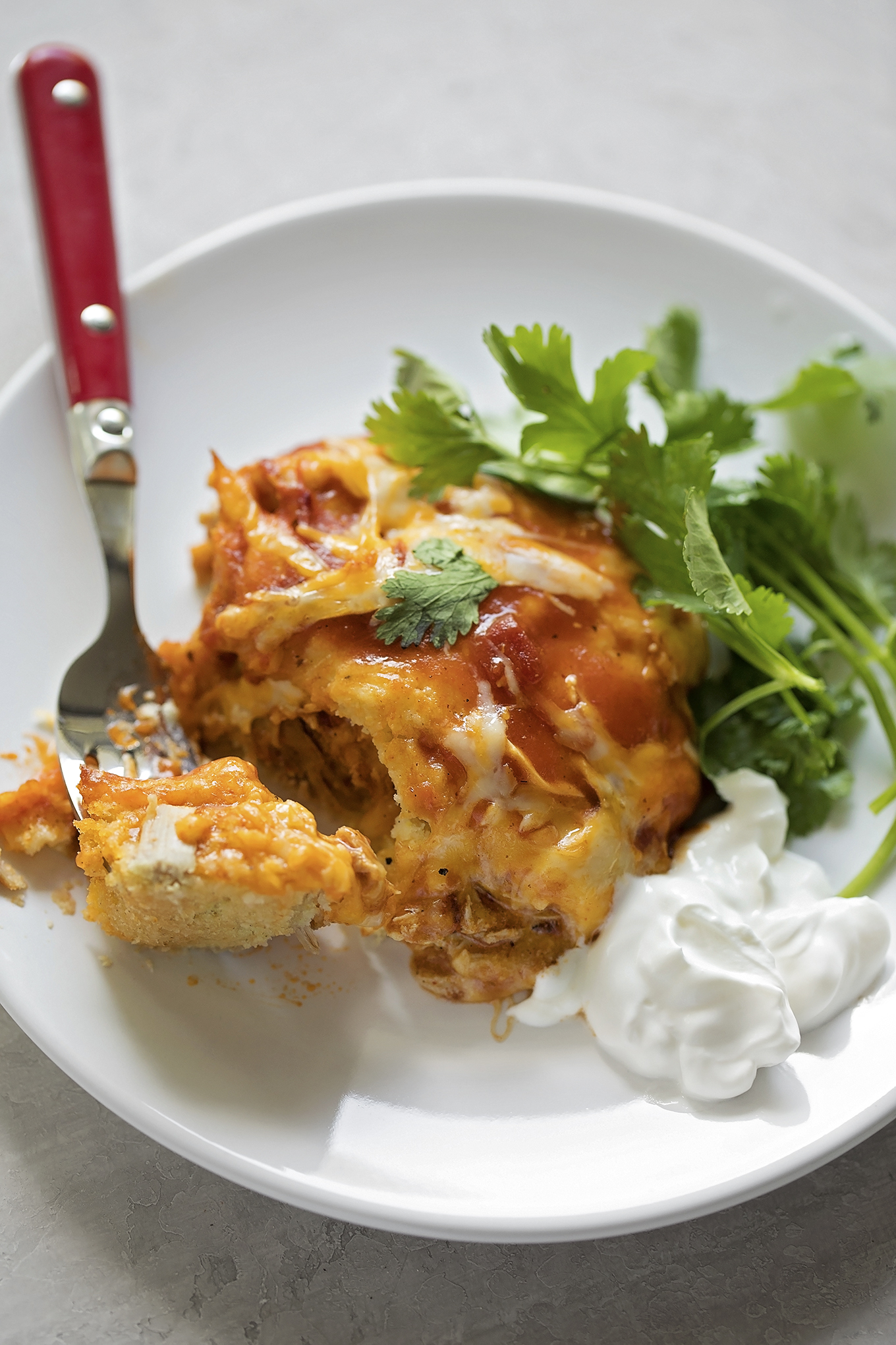 A fork full of pork tamale casserole. | lifemadesimplebakes.com