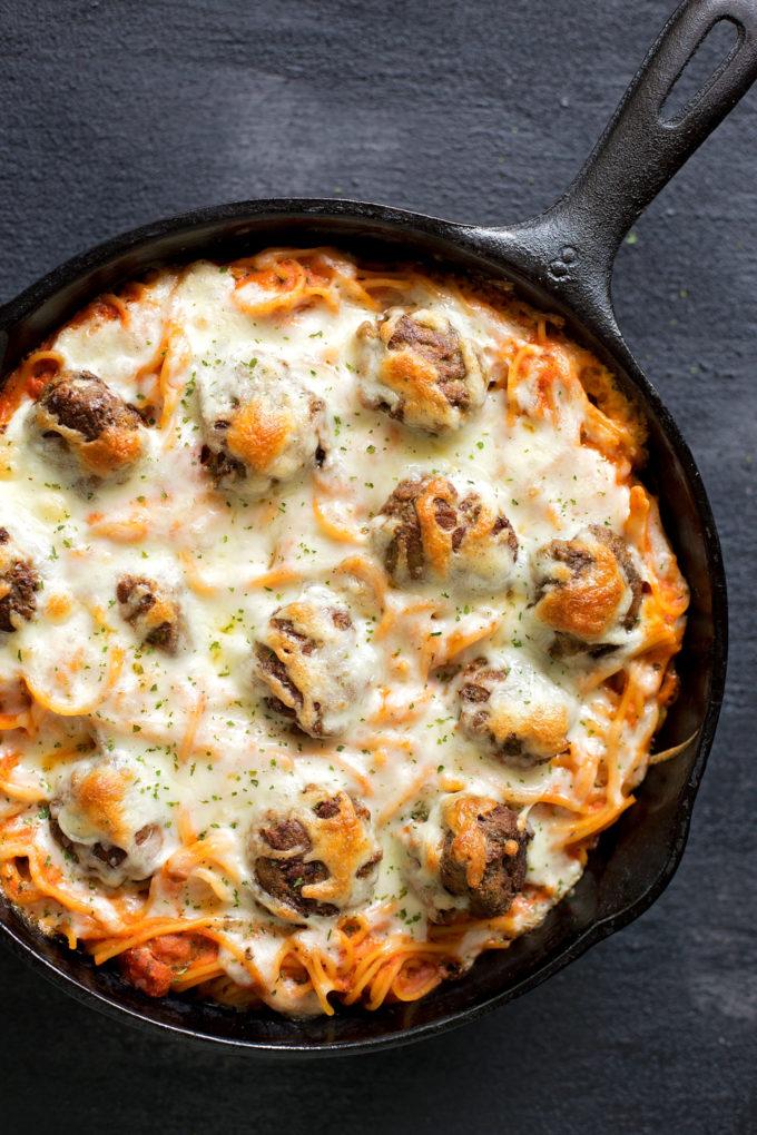 Simple baked spaghetti and meatballs using jarred marinara.   lifemadesimplebakes.com