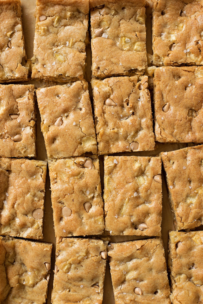Caramel Apple Blondies cut into portions to serve.