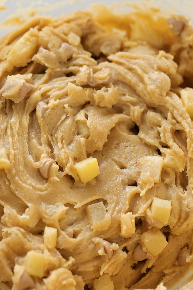 A close up of Caramel Apple Blondie dough ready to be baked.