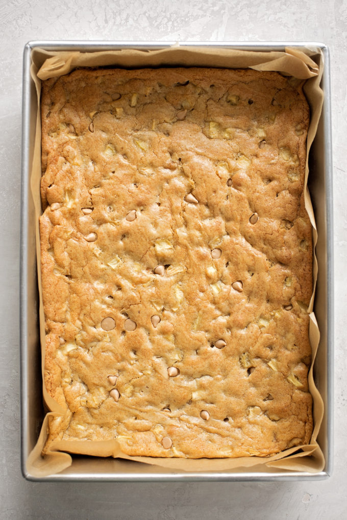 A 9x13 pan of freshly baked Caramel Apple Blondies.