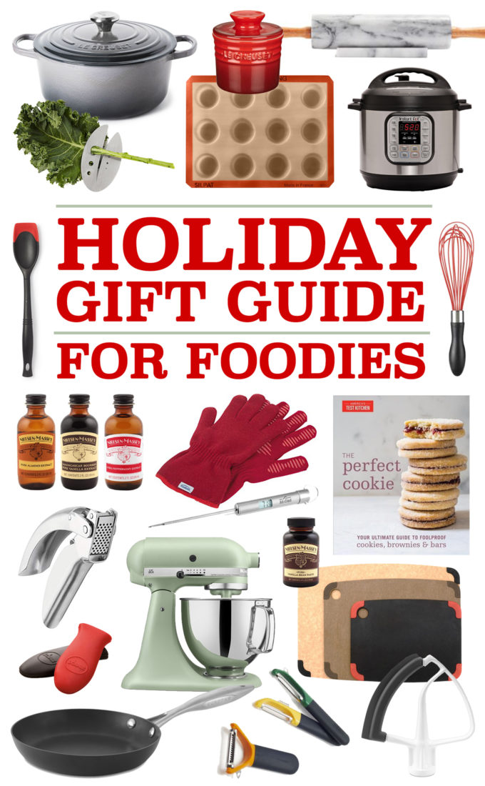 A collage of Christmas gifts for foodies or people who love to cook.