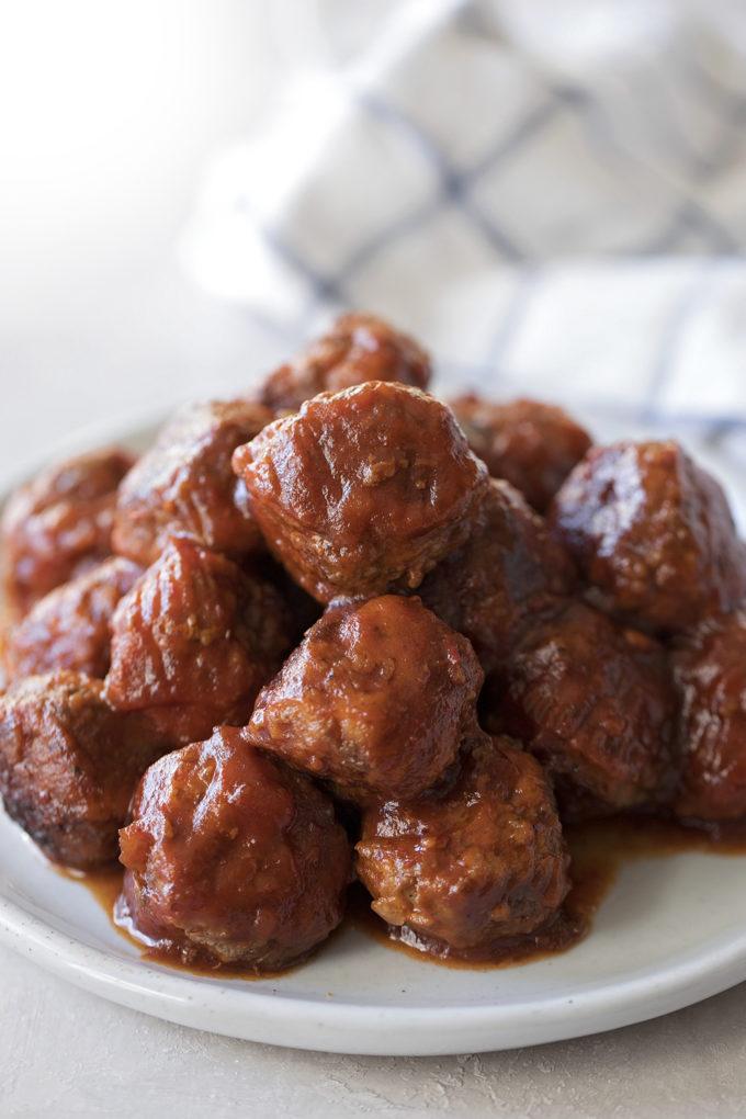 A pile of Instant Pot cranberry meatballs.