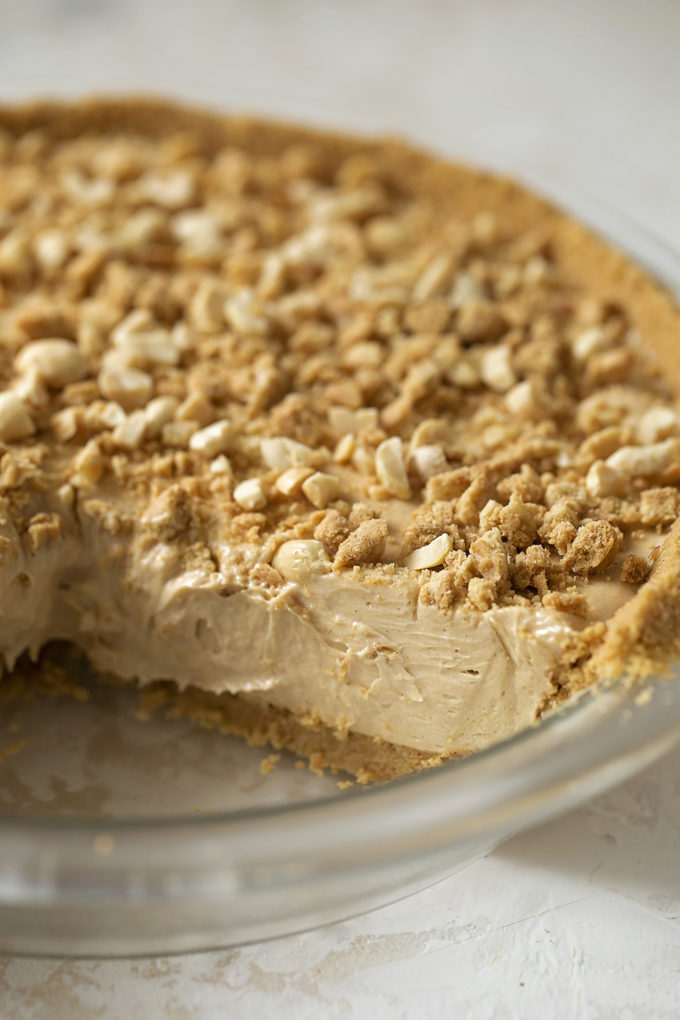 A close up shot of the no-bake peanut butter pie.