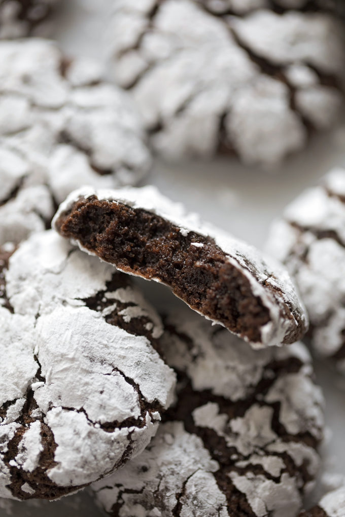 The brownie-like inside of a perfect chocolate crinkle cookie.