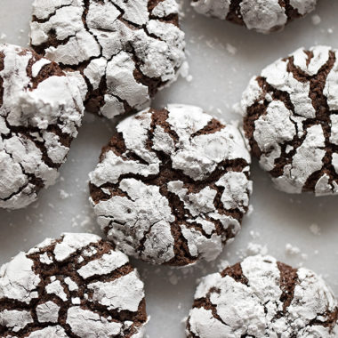 Perfect chocolate crinkle cookies.